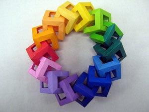 Paper cubes linked together